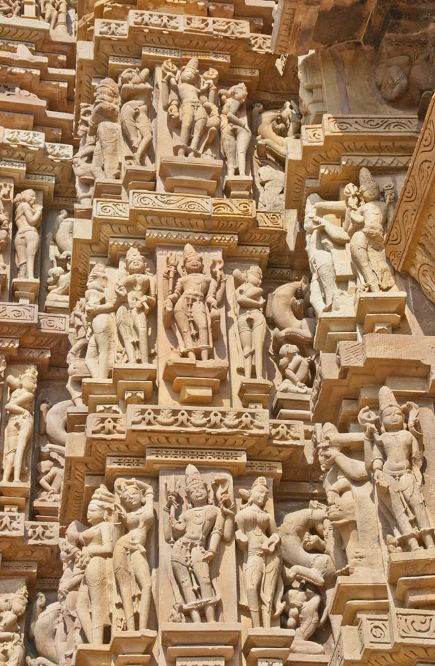 Sculptures of Khajuraho temple walls