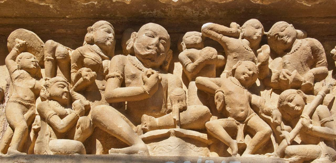 Sculptures on Khajuraho temple walls