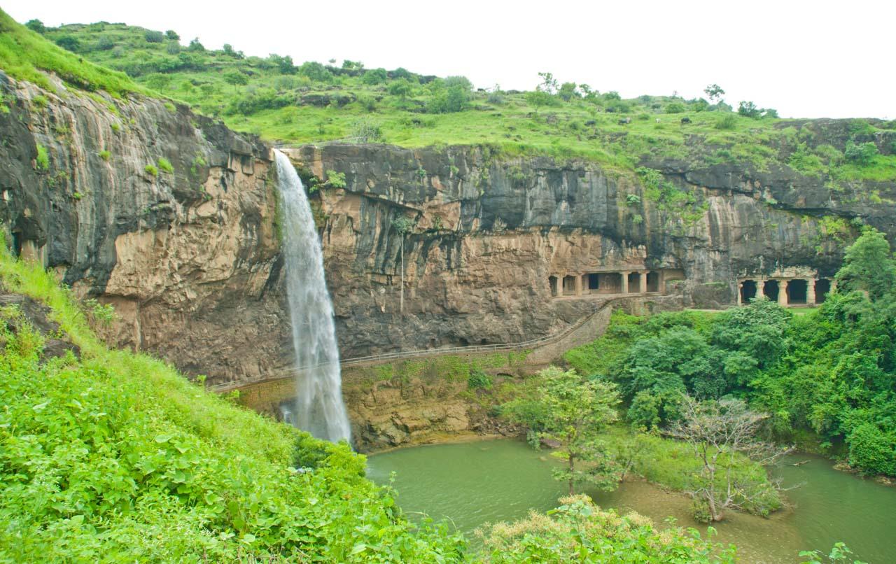 Ellora caves waterfall