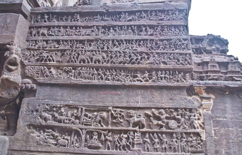 Episode of Mahabharata in Kailasa cave in Ellora