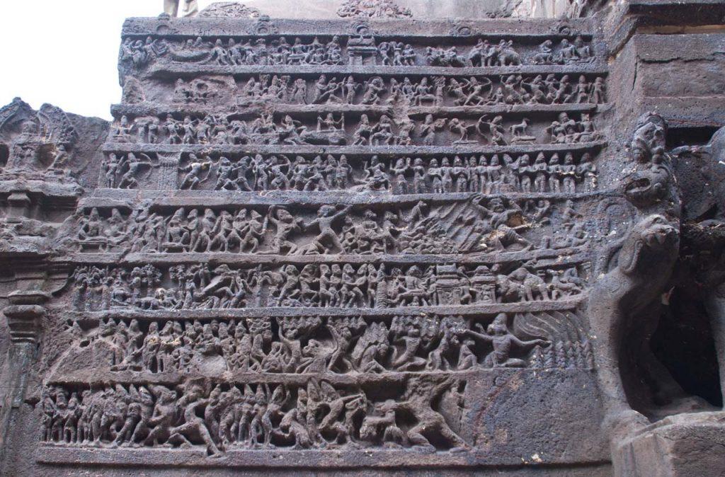 Episode of Ramayana in Kailasa cave in Ellora