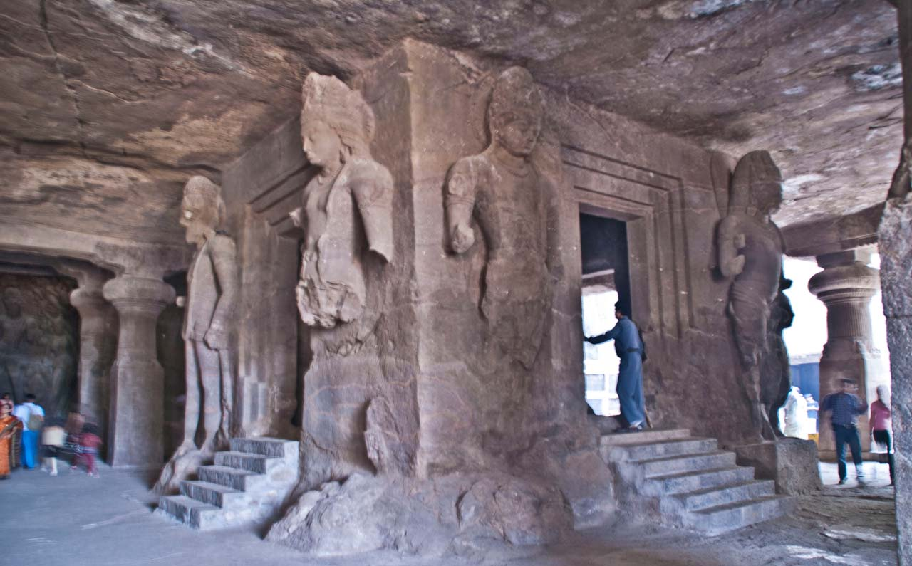 Inside cave number 1 in Elephanta caves